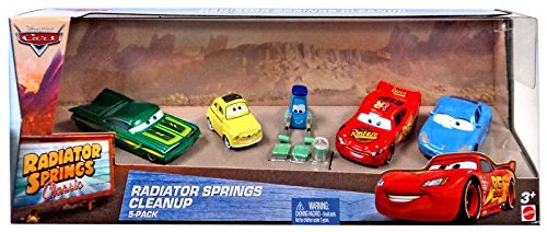 Disney Cars The World of Cars Radiator Springs Classic Radiator Springs Cleanup 1:55 Diecast Car Set by - Collection Crow Spring