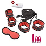 Intimate Melody Bed Restraint system with Comfortable Wrist and Ankle Cuffs bed straps under bed restraint cuffs Fits Almost Any Size Mattress for couples(Red)