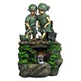 Children Discovering Nature Fountain with LED Light