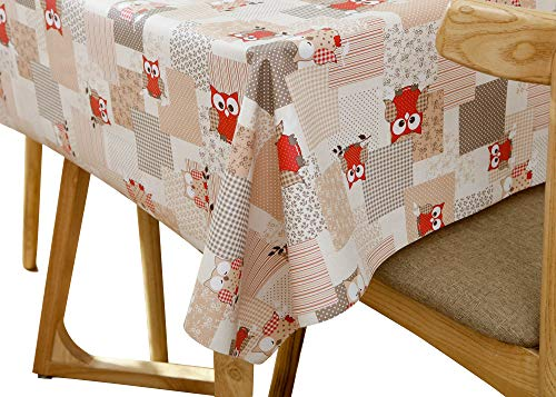 Lavin Tablecloth PVC Wipe Clean Table Cloth Waterproof Oil Cloth Heavy Duty Vinyl Table Cover Rectangle Oilproof Satin-resistant Home Decoration (Owl)