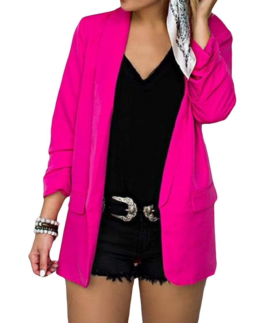 YUNY Women Long-Sleeve Solid Over Sized Pockets Skinny Lapel Blazer Jackets Rose Red 3XL