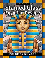 Stained Glass Egyptian Designs: Color by Number Coloring Book for Adults