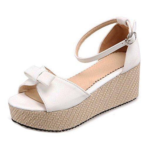 Sandali 1 TAOFFEN Donna Cinturino Flatform White Caviglia alla Scarpe fxHPwqZ
