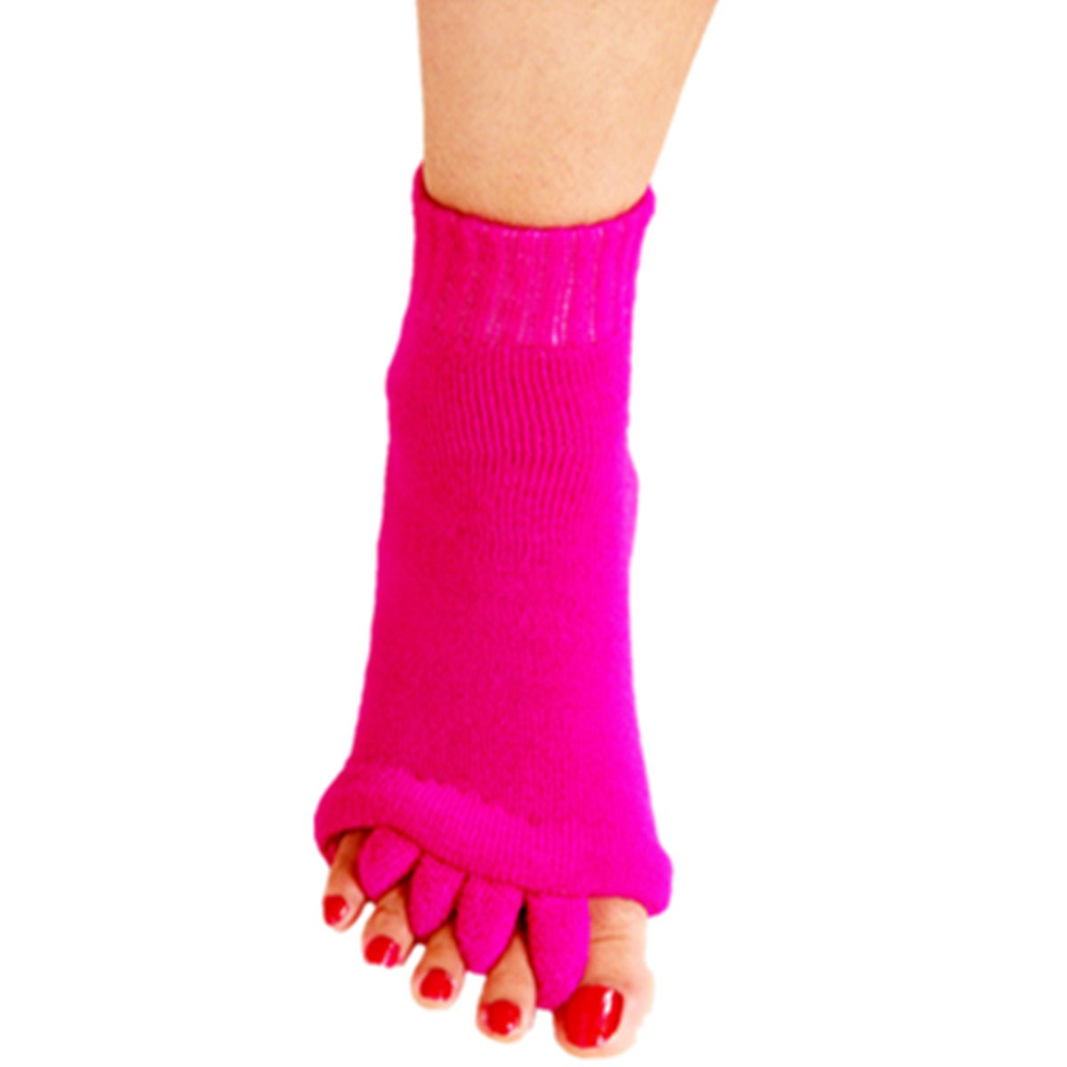 1 Pair Yoga GYM Massage Five Toe Separator Socks Foot Alignment Pain Relief Hot (One Size, A-Hot Pink)