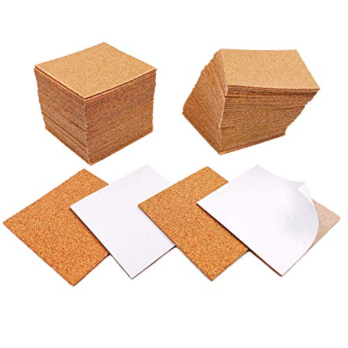 "80 Pack Self-Adhesive Cork Sheets DIY Coaster Square Cork Coasters Premium Mini Wall Cork Tiles Ultra Strong Self Adhesive Backing (4""x4"")"