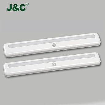J & C® 2 unidades 1.2 vatios LED Luz de Armario con detector de movimiento,