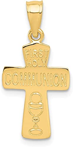 14K Yellow Gold Jewelry Pendants /& Charms Solid 12 mm 19 mm First Holy Communion Cross Pendant