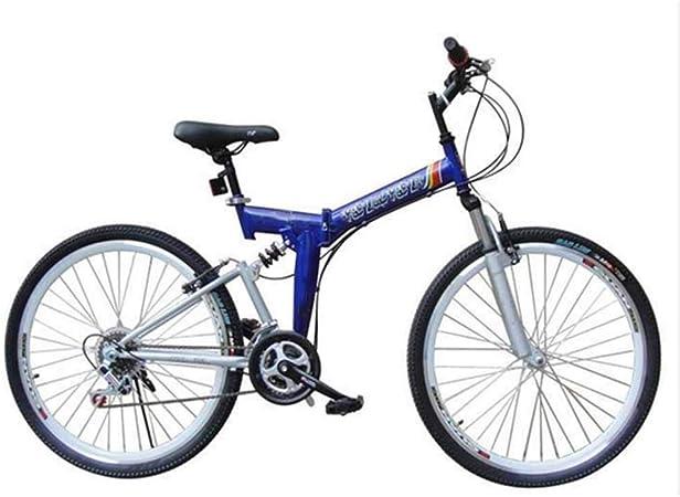 Gyj&mmm Bicicleta Plegable, Bicicleta de montaña Plegable de 24-26 Pulgadas y 21 velocidades, Frenos en V Delanteros y Traseros, Bicicleta de montaña con Amortiguador, Speed Car,Azul,26inches: Amazon.es: Hogar