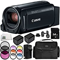 Canon VIXIA HF R800 Camcorder 9PC Accessory Bundle – Includes 64GB SD Memory Card, 3 Piece Filter Kit (UV, CPL, FLD), MORE - International Version (No Warranty)