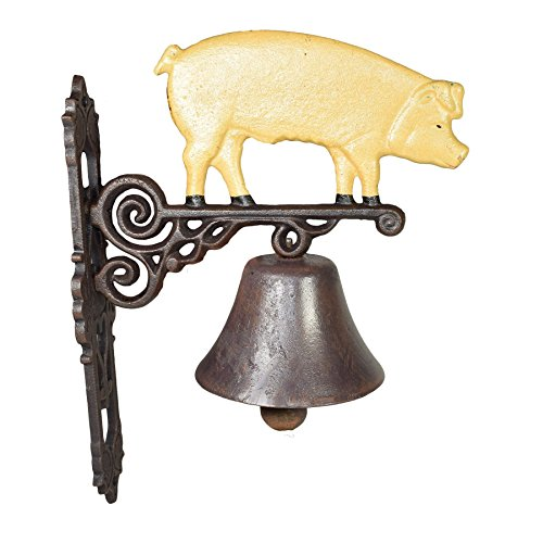 AB Tools Pig Bell Farm Cast Iron Sign Plaque Door Wall Fence Gate House Garage Porch