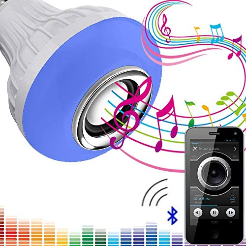 12W E27 LED Multicolour Music Bulb with Bluetooth Connectivity, 1 X 7W Bluetooth Music Lamp, 1 X Remote Controller