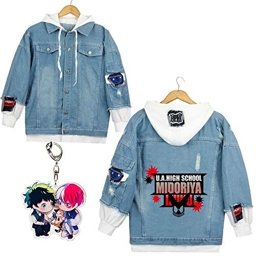 Sleek Neek Boku No Hero Academy Todoroki Shoto Anime Theme Denim Hoodie Jacket & Keychain
