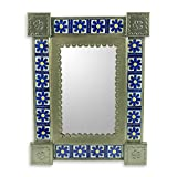 NOVICA Floral Ceramic and Tin Wall Mounted Mirror, Blue, 'Mexican Wildflowers'