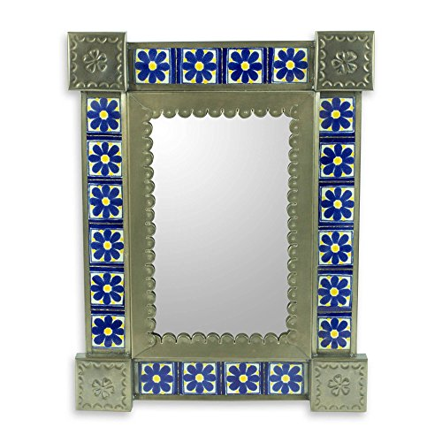 NOVICA Floral Ceramic and Tin Wall Mounted Mirror, Blue, 'Mexican Wildflowers' (Flower Tin Mirror)