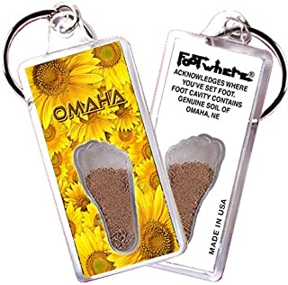 "product image for Omaha ""FootWhere"" Souvenir Key Chain (OM102 - Sunflowers)"