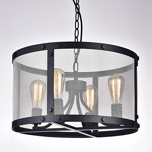 CLAXY Ecopower Vintage Mesh Chandelier 4 Lights Pendant Lighting Fixture