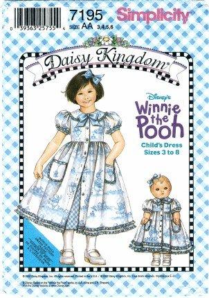 Simplicity 7195 Sewing Pattern DAISY KINGDOM Girls WINNIE THE POOH Dress Slip Doll Clothes Size 3 - 6 (Daisy Kingdom Doll)