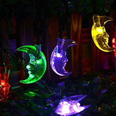 LUCKLED Moon Solar String Lights, 20ft 30 LED Decorative Christmas lights for Home, Garden, Patio, Lawn, Party and Holiday Decorations