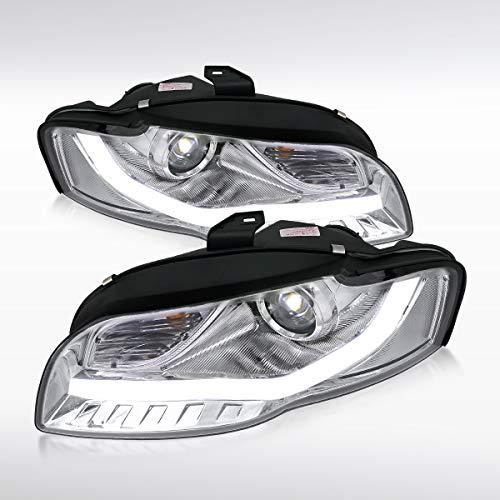 Autozensation For Audi A4 Chrome Fiber Optic LED Projector Headlights Pair