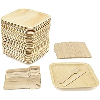 Party Pack of 150 Eco-Friendly Dinnerware - 50 Disposable 8\  Square Palm Leaf Plates 50 Wood Forks 50 Wood Knives  sc 1 st  Amazon.com & Amazon.com: Disposable Wood Plates 7.5\u201d x 5.5\u201d \u2013 50Pk. Natural Eco ...
