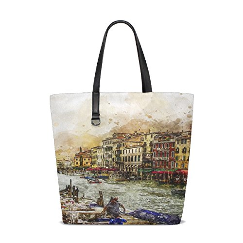 - Dnoving Women Venice Grand Canal Venezia Boats Italian Water Handle Satchel Handbags Shoulder Bag Tote Purse Messenger Bags