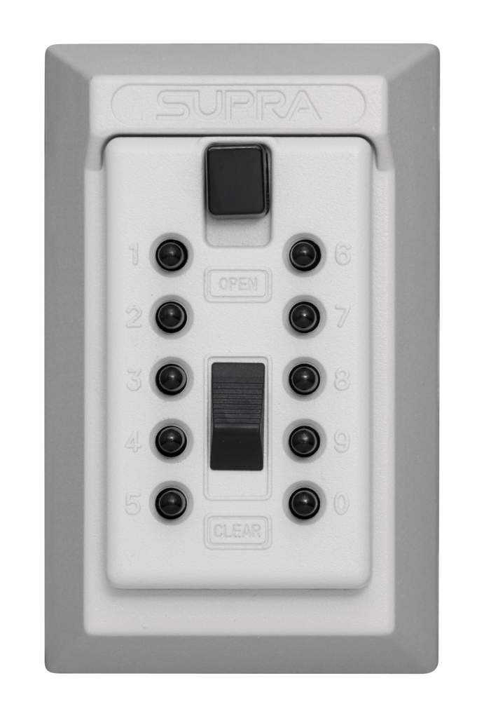 Kidde AccessPoint 001408 KeySafe Original Push Button Combination Permanent Key Lock Box, 5-Key, White