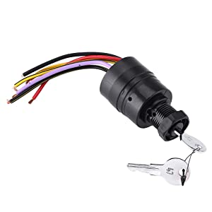 Ignition Switch,Boat Motor Ignition Key Switch 87-88107 for Mercury 2 Keys 6 Wire Connectors