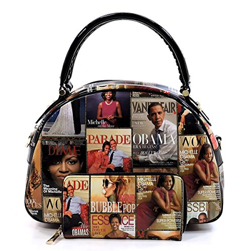 Glossy Magazine Cover Collage 2-in-1 Dome Satchel & Wallet Set Michelle Obama Handbag ((1) - Obama Fashion