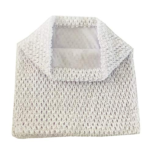 NNBX 9 Inch Crochet Tutu Tube Top Chest Wrap for Babies Infants and Toddlers (White) ()