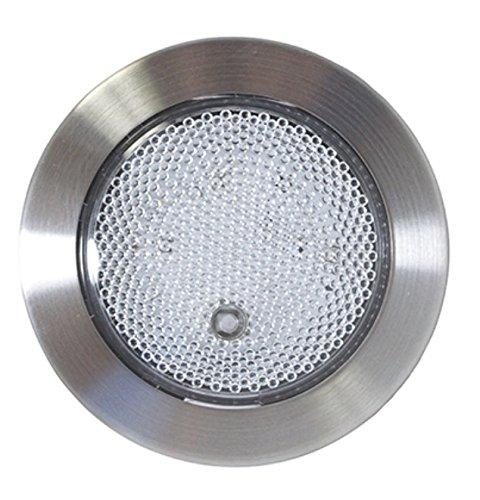 - RV 12V Light 9 LED Round Prismatic Push Lens ON / OFF Brushed Nickel Bezel
