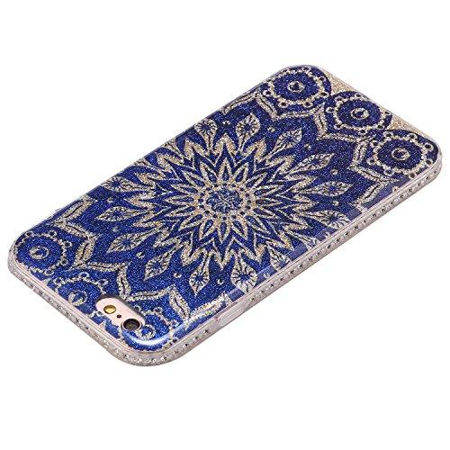 Funda Case iPhone 6/6S 4.7 silicona,Ukayfe Ultra Delgado Flexible Suave TPU Gel Trasera Bumper Protector Carcasa Para iPhone 6/6S 4.7,Carcasa de 360 Protección con Pintura de Colores para teléfono por Flores azules