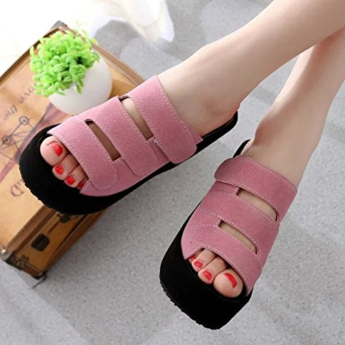 Bottom Wild Comfort Scrub Heeled High WHLShoes Pink Fashion Women'S Sandals Summer Slippers Slope Thick Casual Spring wqgz6P