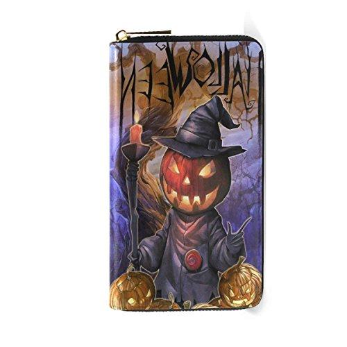 Womens Wallets Halloween Pumpkin Leather Clutch Purse Travel Zipper Handbag