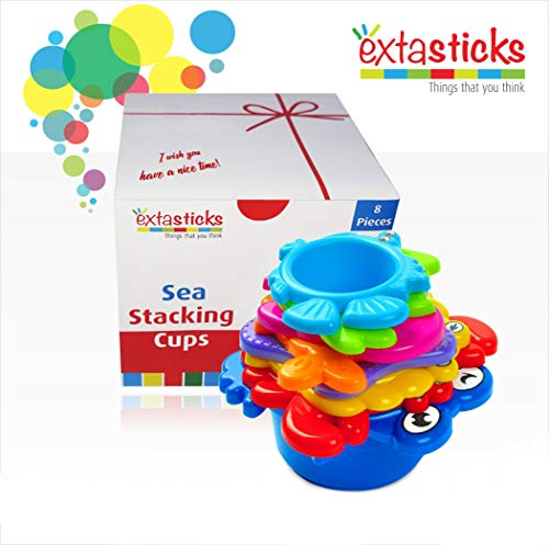 (Stacking Cups Set for Babies - Toddler Bath Toys - 8 sea Animals to Play in Sand & Water - Bath Toys - Educational Multicolored Beach Toy for Boys and Girls 100% Safe - BPA Free)