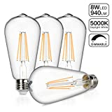 Vintage LED Edison Bulb, 8W Dimmable Filament Light Bulb, ST64 940 Lumen Daylight 5000K, 75W-100W Incandescent Equivalent,E26 Medium Base Squirrel Cage Antique Lamp, Pack of 4