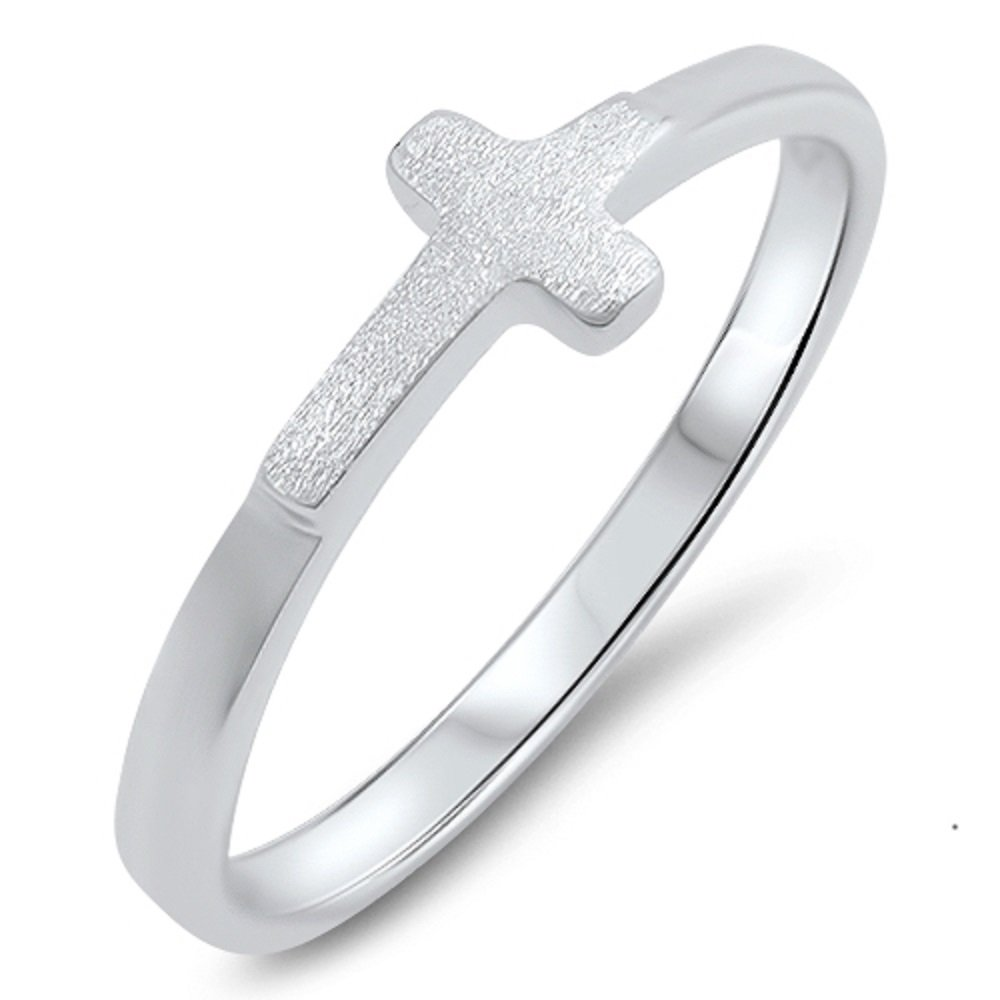 Princess Kylie 925 Sterling Silver Matte Sideway Cross with Shiny Band Ring
