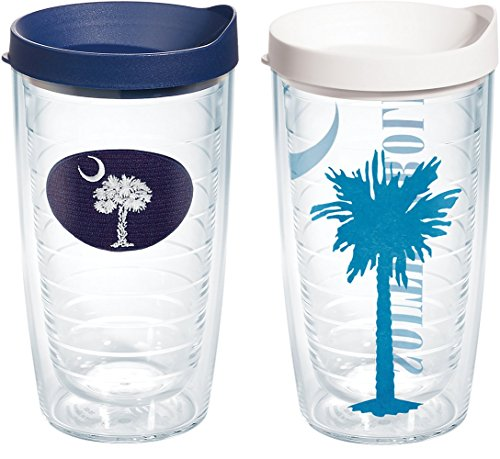 Tervis 1154632 South Carolina Flag Insulated Tumbler Assorted Lid 2 Pack-Boxed, 16oz Clear