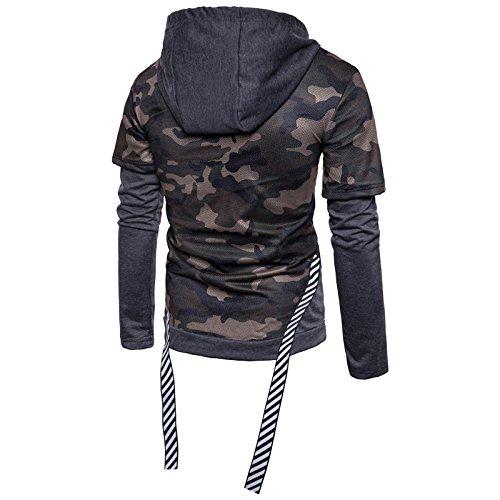 Garçon Zipper Sweater Serrage Homme ball 2 Manche Capuche 1 Foncé De Longue Basket En À Sweatershirt Gris Cordon Shirt Pull Militaire Wslcn Camouflage OT0Rqdq