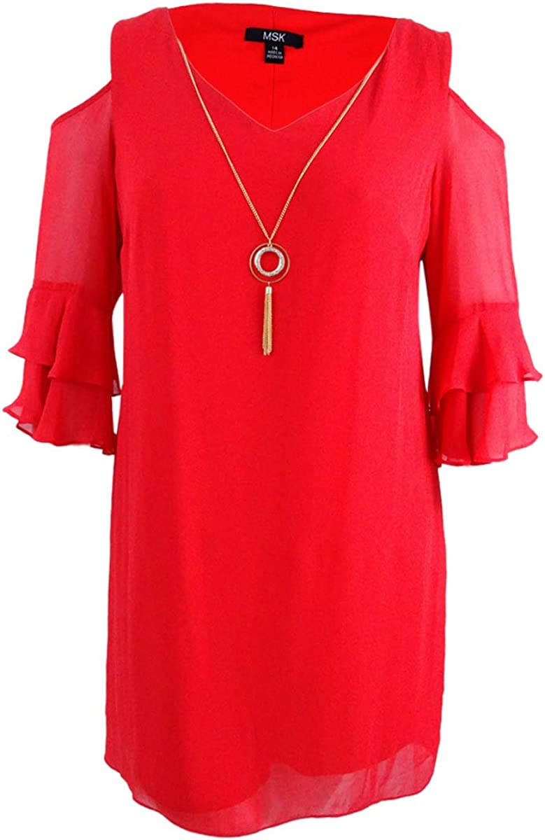 MSK Womens Cold-Shoulder Shift Dress with Necklace Reds 16, Winter Coral