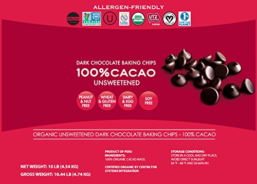 Pascha Bulk Organic Unsweetened 100% Dark Chocolate Baking Chips, 10 Pound by Pascha (Image #1)