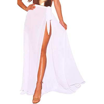 AUDIANO Women's Swimsuit Cover Up Sarong Wrap Skirt Beach Coverup Bikini Swimwear Long White at Women's Clothing store
