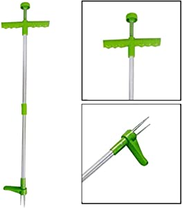 U/K Weed Puller, Stand Up Weeder Hand Tool, Long Handle Garden Weeding Tool with 3 Claws, Hand Weed Hound Weed Puller for Dandelion, Standup Weed Root Pulling Tool and Picker, Grabber