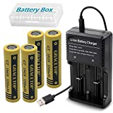 4pcs Flat Top 18650 Battery 3200mAh Li-ion Rechargeable Battery with USB Battery Charger for 18650 18500 14500 2-Slots Battery Charger Flashlight Fan Batteries