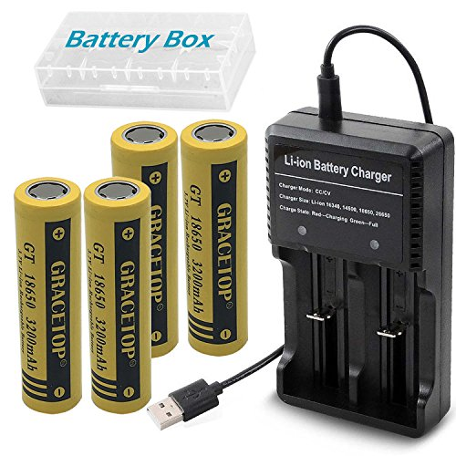 4pcs Flat Top 18650 Batteries 3200mAh Li-ion Rechargeable Battery with 2-Slots USB battery charger for 18650 18500 14500 Battery Charger Fan torch Battery by GRACETOP