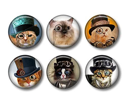 Steampunk Cats - Fridge Magnets - Cat Magnets - 6 Magnets - 1.5 Inch Magnets - Kitchen Magnets