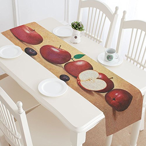 INTERESTPRINT Red Apple Painting Polyester Table Runner Placemat 16 x 72 inch, Vintage Apples Tablecloth for Office Kitchen Dining Wedding Party Home Decor