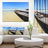 Traditional Thai Boat on Beach Seashore Canvas Art Print