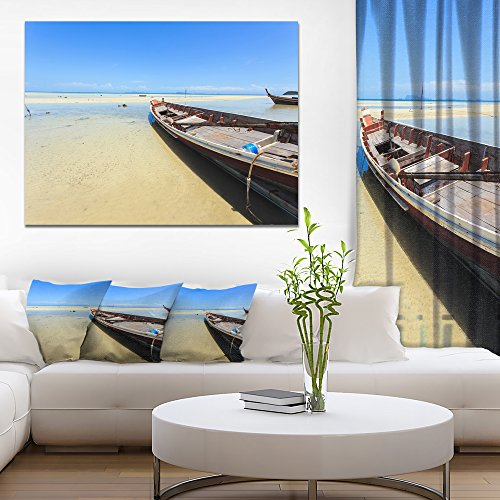 Traditional Thai Boat on Beach Seashore Canvas Art Print by Design Art