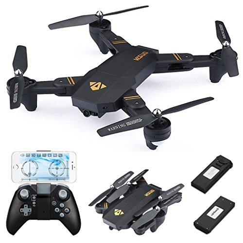 Virhuck VISUO XS809W Drone with Camera Live Video, WiFi FPV Quadcopter with 120° Wide-Angle 720P HD Camera Foldable Drone RTF - Altitude Hold, 3D Flip, APP Control, Gravity Sensor + Bonus Battery