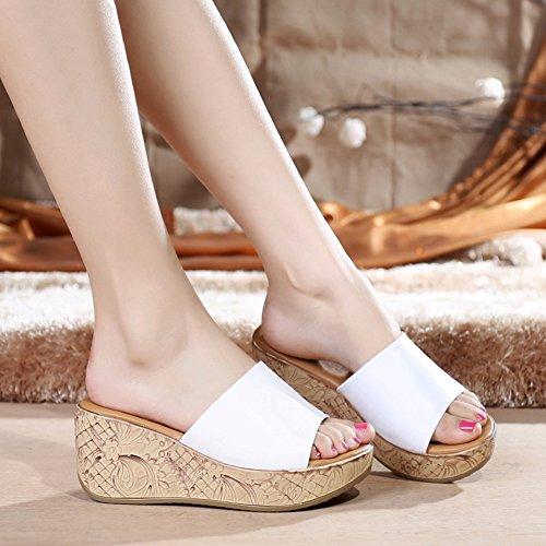 Btrada Femmes Peep Toe Plateforme Glisser Anti-dérapant Wedge Sandales De Plage Blanc